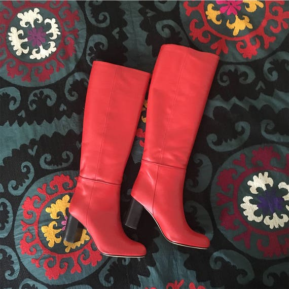 Stiefel Leder rot, rot Leder Damen Stiefel, rote Stiefel Absatz 6 cm, Leder Stiefel hohe Frau rot, Italien Boot Booten rote Ferse, SYLVIE