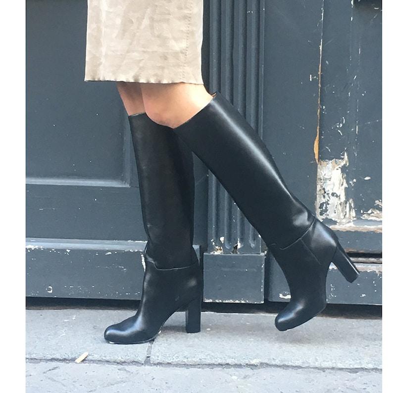 Bottes cuir noir Bottes femme bottes classique cuir noir  7af5d6aa2e2