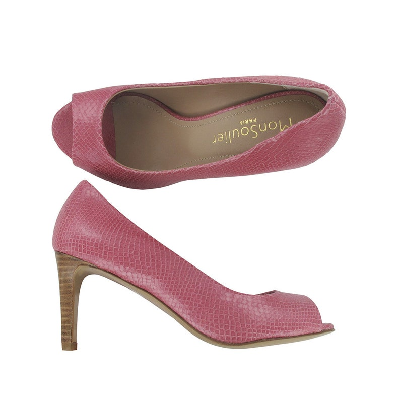 5f0ea2ad61fa2 Pink leather open toe pump, Handmade in Italy, Designed in Paris, Pink  leather sandal, Open toe stiletto, Genuine leather shoes, Cape Town