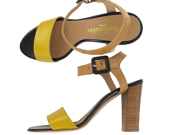 Yellow and beige leather ankle strap sandal, Beige leather sandals, Yellow sandal, Italy shoes,Women leather sandal, Rio