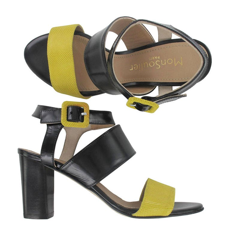 b7a96549b64a Yellow and black leather ankle strap sandal Black leather