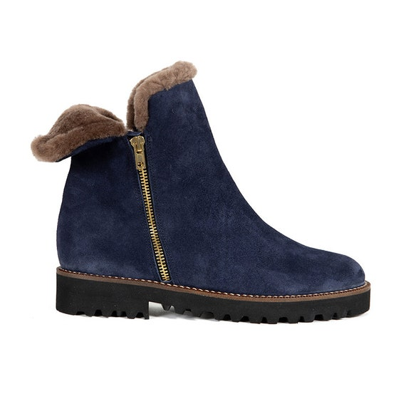 4ba3b55514d72 Sheepskin lined ankle boots navy blue leather fur boots