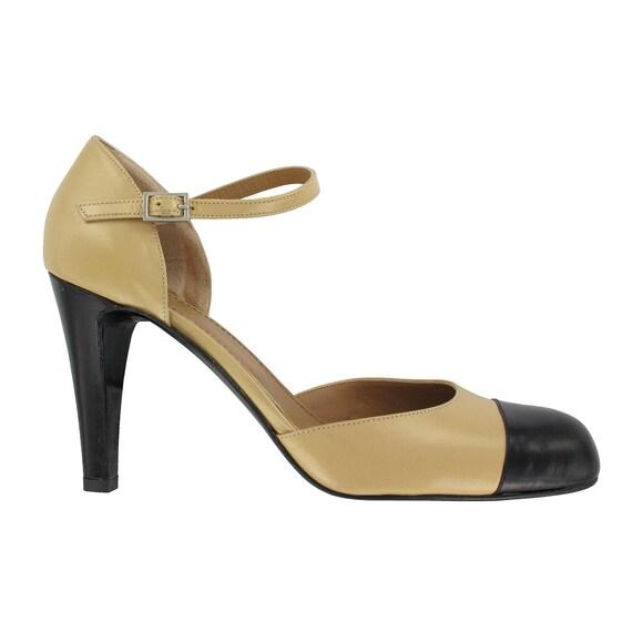comment acheter diversifié dans l'emballage profiter de gros rabais Escarpin bicolore en cuir beige noir, Chaussure femme cuir beige, Escarpin  bride cheville cuir beige, Fabriqué en Italie