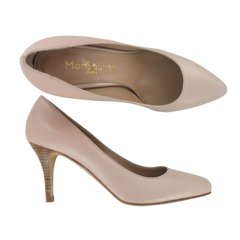 d8c1eed7d1f Nude leather pointy stiletto, Women pointed toe shoes, Pointy blush leather  stiletto, pointy shoes made in Italy