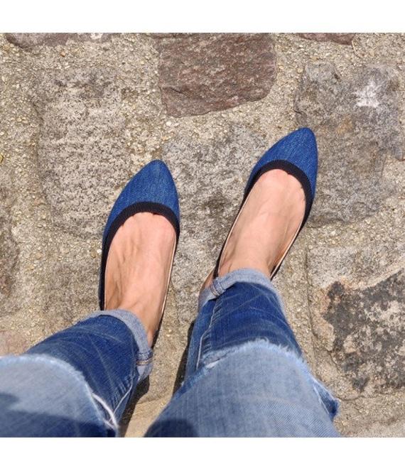 Denim pointed toe slingback flat women