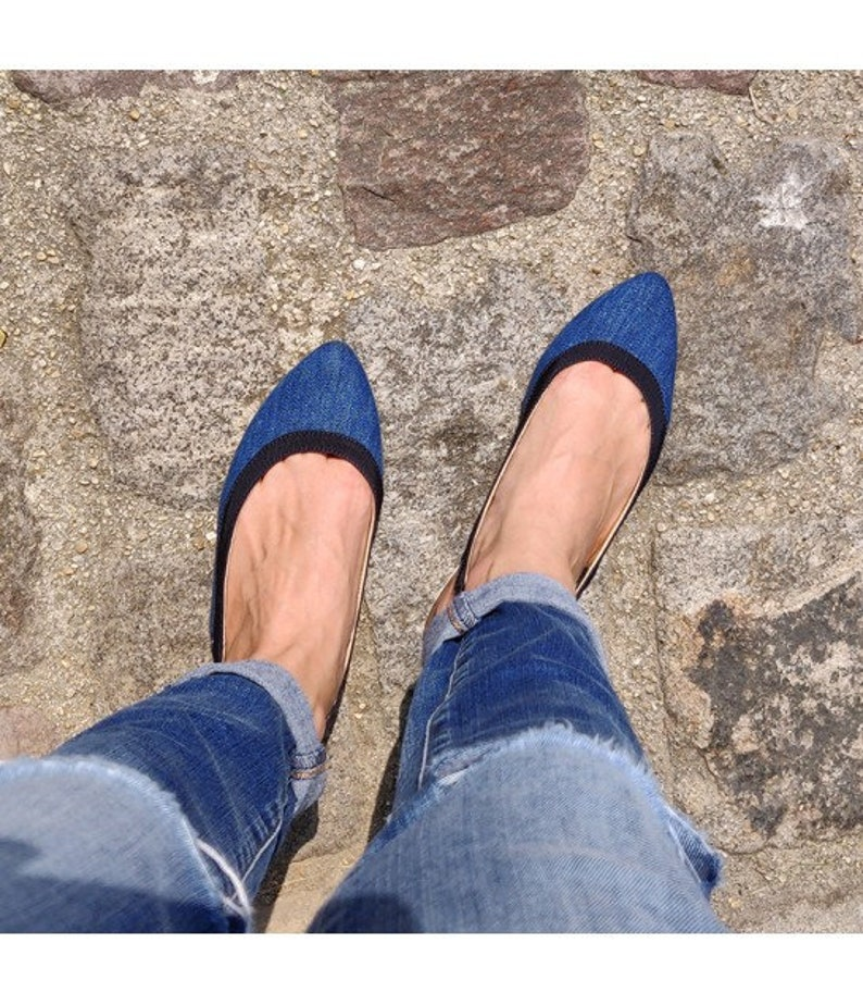41007f8a4dc Denim pointed toe slingback flat, women denim pointy flats, denim shoes  made in Italy, Slingback blue flats, Pointy flats women