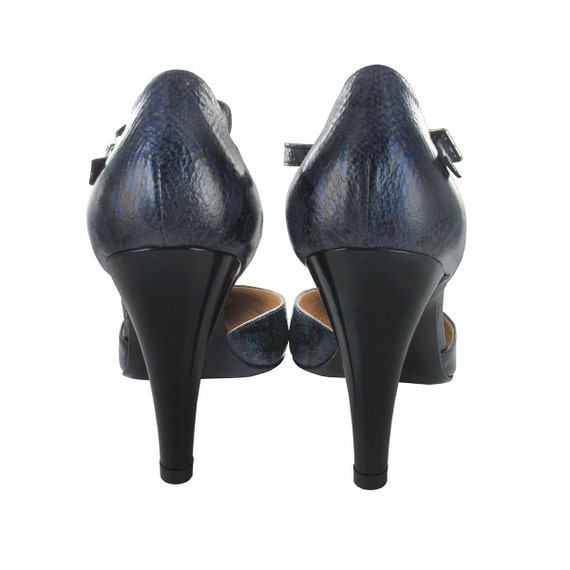 in strap shoes shoes Blue leather pump leather Handmade Patent Paola Italy ankle pump Navy strap ankle leather Blue Yvq7Yz