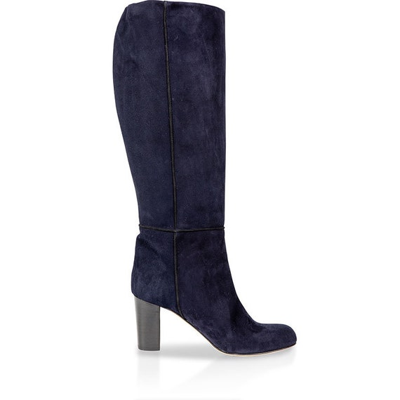 Navy blue suede leather knee high boots