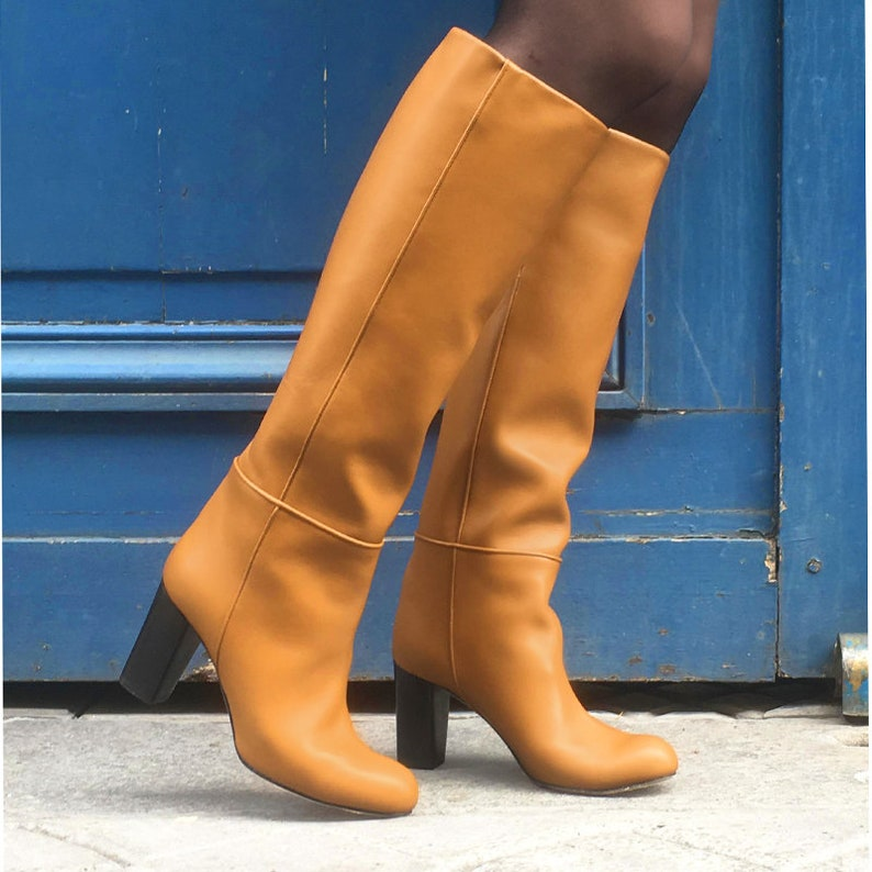 8b3fe3e5b46f14 Stiefel Cognac Beige Leder Stiefel Frau Lederstiefel beiges