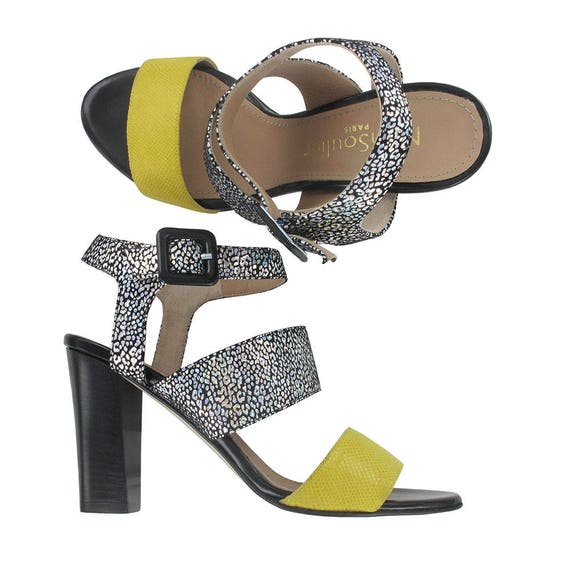 shoes strap Black leather leather sandal Yellow leather and Women ankle sandals Yellow sandal Italy Rio sandal black wIqfY7
