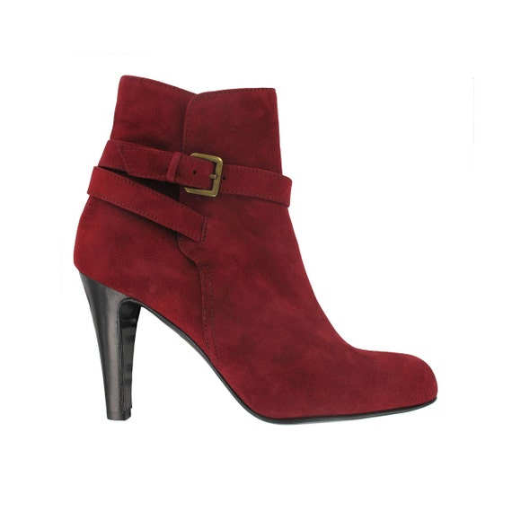 Burgundy suede ankle boots Red leather