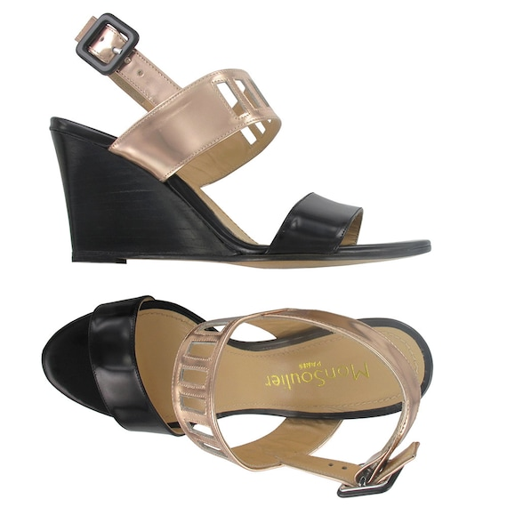 1d2f8827c51 Wedge leather sandals Open toe wedges Black leather wedges