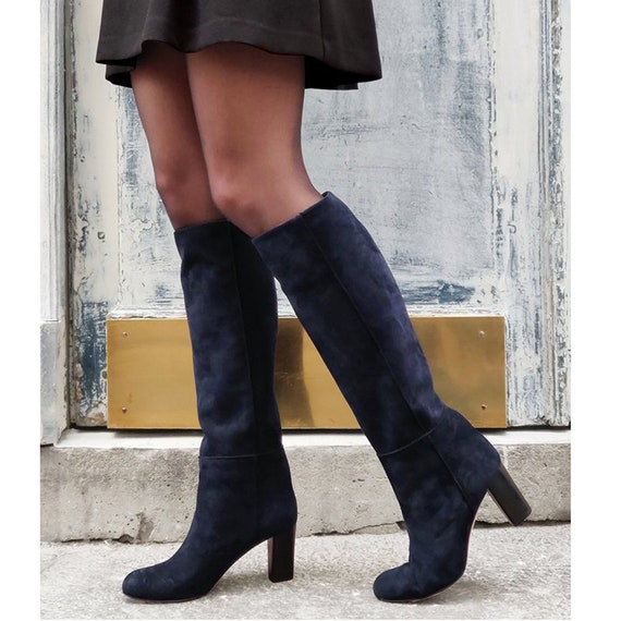 size 40 amazon fashion Navy blue suede leather knee high boots women blue high | Etsy