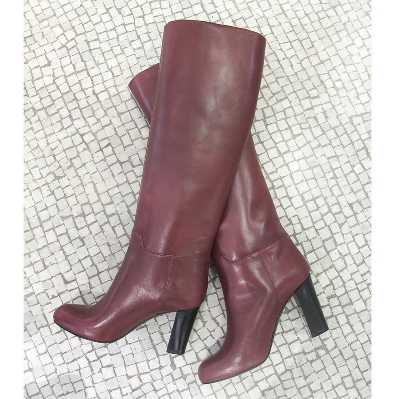49dd8378b84 Burgundy knee high boots Burgundy leather high boots Winter