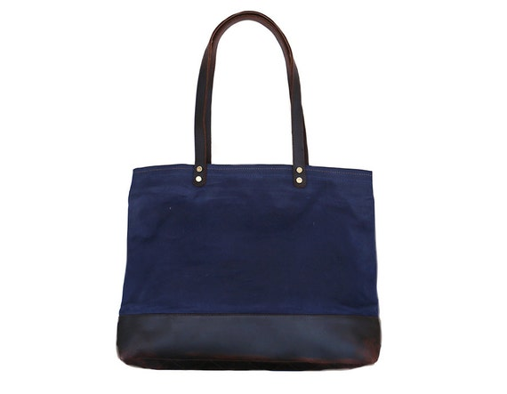 SALE Waxed Canvas and Leather Market Tote in Navy  413d694a467f6