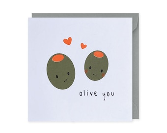 Olive You Card, Love Card, Anniversary Card, Funny Anniversary Card, Birthday Card, Olive Card, Valentines Card, Punny Food Card