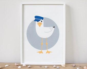 Seagull Print, Seagull Screen Print, Seagull Art, Nautical Print, Fun Print, Seaside Print, Beach Print, Beach hut Print, A4 Poster, Fun Art