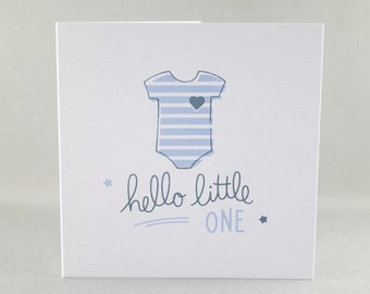New Baby Card, Cute Baby Card, Hello Little One Card, Baby Boy Card, Baby Card, Newborn Card