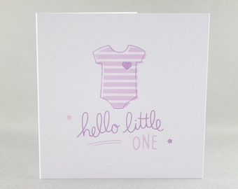 New Baby Card, Cute Baby Card, Hello Little One Card, Baby Girl Card, Baby Card, Newborn Card