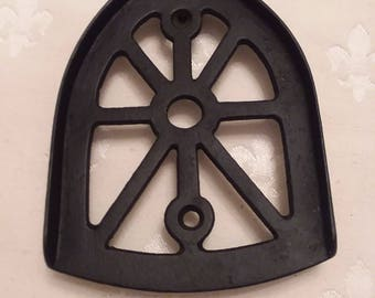 Antique Cast Iron Trivet for Early Laundry; Flat Iron Sad Iron