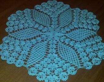"""NEW Hand Crochet Aquamarine Doily 17"""" round"""