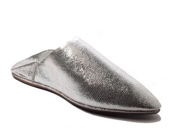 Unique Silver Moroccan Traditional Slippers for Women, Handmade Leather