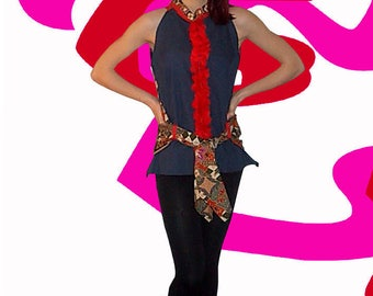 Batik top and jeans CHANKRISNA red floral stripe