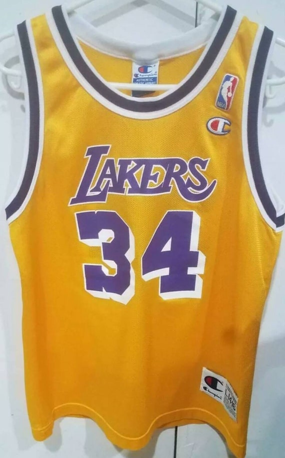Vintage 90s Lakers #34 Shaquille O'Neal youth unis