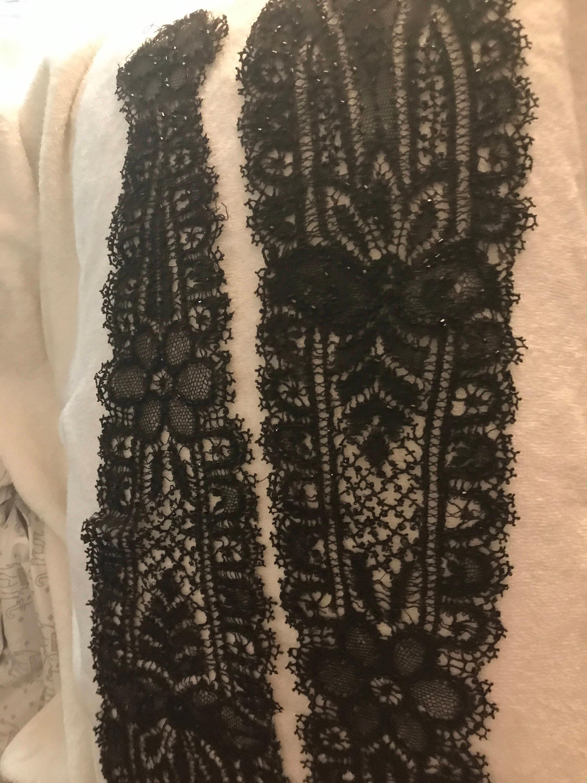 Laine à de victorien victorien de laine dentelle 1800 la main anglais dentelle avec des perles b0dc81