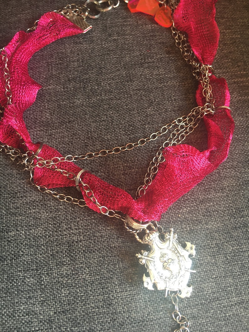 Heart crown of thorns and pink pink fuschia brutalist chain punk rock style stainless steel sterling