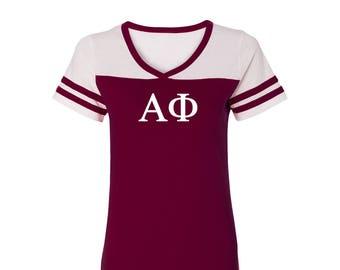 Alpha Phi T-shirt, Alpha Phi Powder Puff T-shirt,  Alpha Phi Tee, Alpha Phi Greek Letter short Sleeve Tee, greek apparel, A Phi