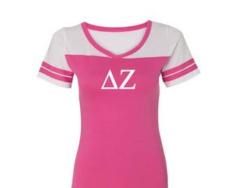 e7c504a1 Delta Zeta T-shirt, Delta Zeta Powder Puff T-shirt, Delta Zeta Tee, Delta  Zeta Greek Letter short Sleeve Tee, greek apparel, Dee Zee