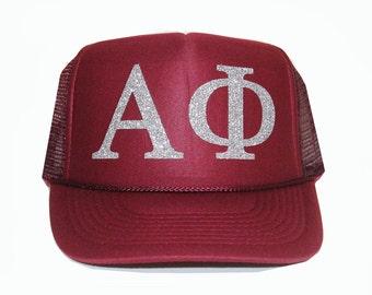 Alpha Phi Trucker Hat, A Phi Trucker Hat, Greek Letter Glitter Trucker Hat, Sorority Letter Cap, Greek Trucker, Sorority Trucker, alphaphi