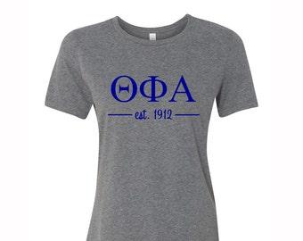 Theta Phi Alpha T-shirt, Theta Phi Alpha Tee, TPhiA T-Shirt, Theta Phi Alpha Greek Letter short Sleeve Tee, greek apparel, Theta Phi Apparel