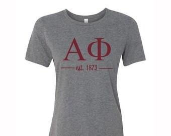 Alpha Phi T-shirt, Alpha Phi Tee, APhi T- Shirt, Alpha Phi Greek Letter short Sleeve Tee, greek apparel, APhi Apparel