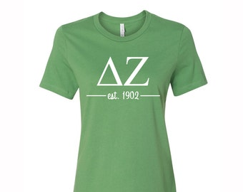 d99f7a92 Delta Zeta T-shirt, Delta Zeta Tee, Dee Zee T- Shirt, Delta Zeta Greek  Letter short Sleeve Tee, greek apparel, Dee Zee Apparel