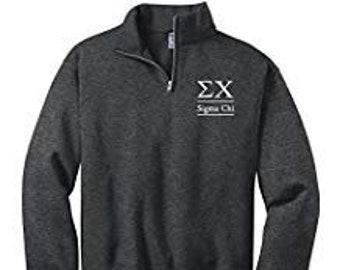 sigma chi quarter zip sweatshirt pulloversigma chi cadet fleece pulloversigma chi quarterzip sweatshirt sigma chi letters sweatshirt