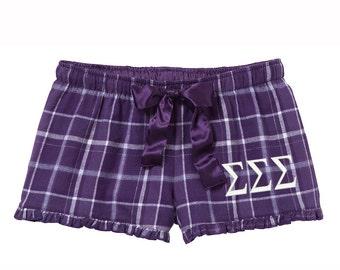 Sigma Sigma Sigma Flannel Boxer Shorts, Tri Sigma Boxers, Tri Sig Sorority Flannel Short, sigma sigma sigma sorority apparel, tri sigma