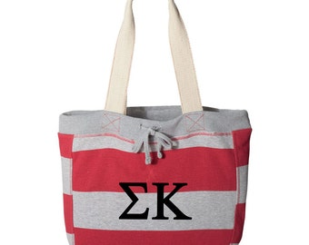 84bca6bf28 Sigma Kappa Beachcomber Bag, Sigma Kappa Tote Bag, SK Sorority Letter Bag,  SK Beach Bag, SK sorority letter carryall bag,