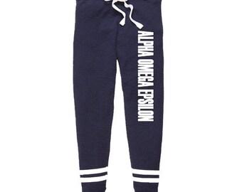 Alpha Omega Epsilon Thermal Joggers, Alpha Omega Epsilon Sweatpants, Alpha Omega Epsilon Apparel, Greek Jogging Pants, Sorority House Sweats