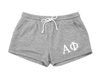 Alpha Phi Shorts, A Phi Rally Shorts, Vintage Feel Sweats, A Phi Apparel, Alpha Phi Sorority, Alpha Phi Athletic Wear, Alpha Phi Clothing