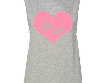 Phi Mu Muscle Tshirt with Heart Design, Phi Mu T- shirt, Phi Mu Tank Top, Phi Mu Sweetheart Muscle Tee,Phi Mu Sleeveless Tee