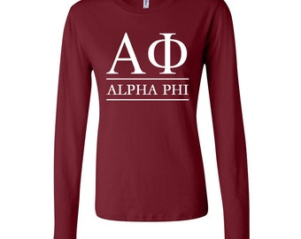 Alpha Phi FITTED Long Sleeve Tshirt, Alpha Phi T- shirt, Alpha Phi T- Shirt, Alpha Phi Greek Letter Long Sleeve Tshirt, Alpha Phi Top