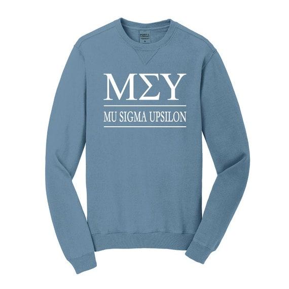 Mu Sigma Upsilon Sweatshirt Mu Sigma Upsilon Hooded Pullover Sweatshirt MSU Pigment Dyed or Solid Color Hoooded Sweatshirt