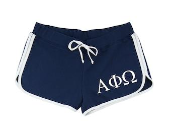 Alpha Phi Omega Shorts, Alpha Phi Omega Dolphin Shorts, APhiO Relay Shorts, A Phi O Apparel, Alpha Phi Omega Sorority, APhiO Athletic Wear