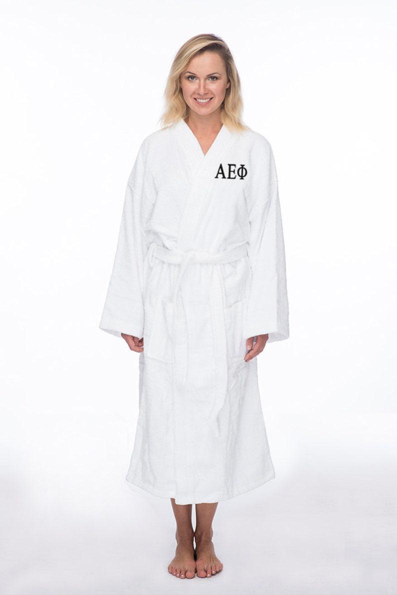 Greek Apparel Sorority Letter Bath Robe Alpha Epsilon Phi Terry Bath Robe Alpha Epsilon Phi Spa Robe AEPhi Terry Robe