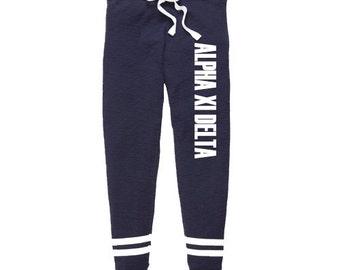 Alpha Xi Delta Thermal Joggers, Alpha Xi Delta Sweatpants, Alpha Xi Delta Apparel, Alpha Zee Greek Jogging Pants, Sorority House Sweats