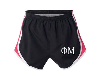 Phi Mu Shorts, FM Shorts, Phi Mu Apparel, FM Running Shorts, Phi Mu velocity shorts, Phi Mu practice shorts