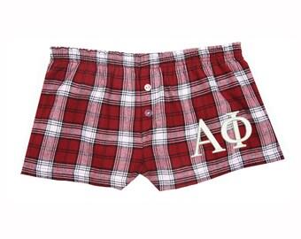 Alpha Phi Flannel Boxer Shorts, Alpha Phi Sorority Letters Flannel Short, Alpha Phi Girls Boxers, Alpha Phi Pjs, Alpha Phi Loungewear