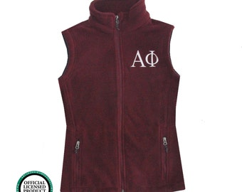 Alpha Phi Fleece Vest, Alpha Phi Zip Up Vest, Greek Apparel, Sorority Letters, Greek Fleece Vest, Officially Licensed Product